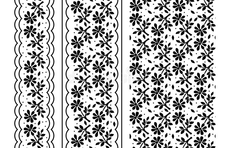 Seamless floral pattern with flowers, black and white ornamental border in vector royalty free illustration