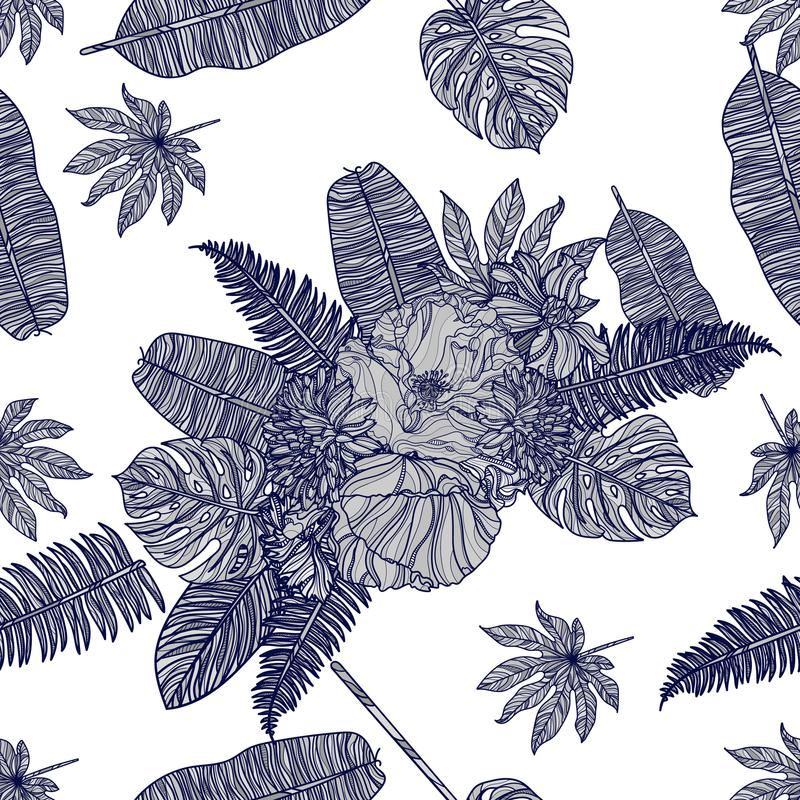 Seamless floral pattern with flowers and tropical leaves. Vector illustration. Typography design elements for prints, cards, posters, products packaging vector illustration