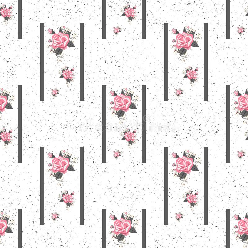 Seamless floral pattern with flowers, watercolor. Vector illustration. Eps 10 royalty free stock image