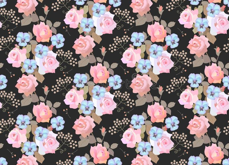 Seamless floral pattern with garlands of ligth pink roses, blue pansies and umbrella flowers on black background. Luxury print. For fabric stock illustration