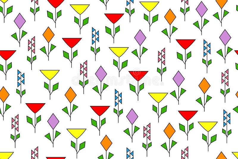Seamless floral pattern from geometrically drawn flowers of different types, a beautiful background for textiles, children`s desig stock illustration