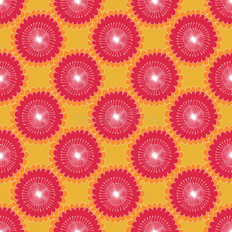 Seamless floral pattern graphic abstract sunflowers, circular elements, red white on orange background, fabric vector illustration