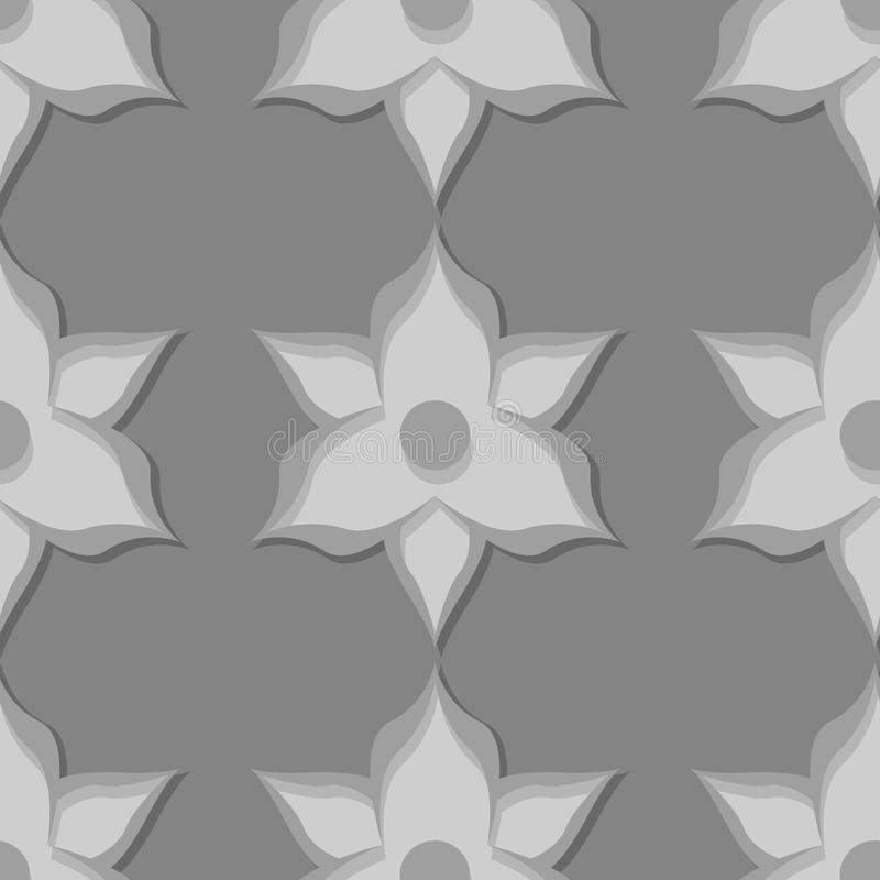 Seamless floral pattern. Gray 3d designs royalty free illustration