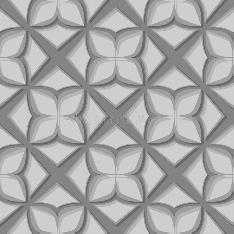 Seamless floral pattern. Gray 3d designs stock illustration