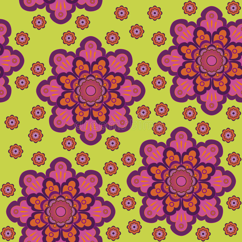 Seamless floral pattern on a green background stock photography