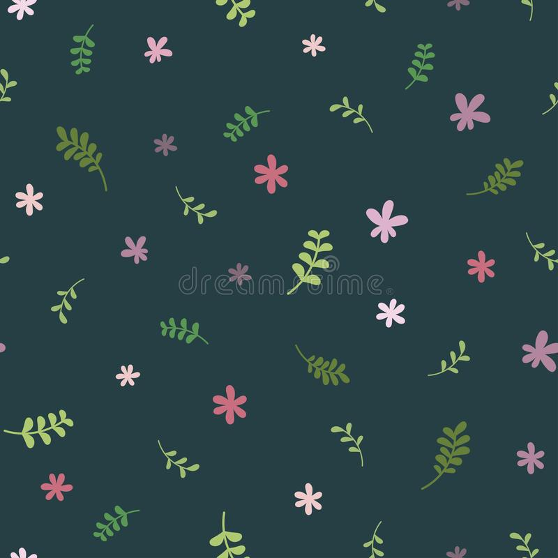 Seamless floral pattern with green blades of grass and pink flowers. Repeating texture stock illustration