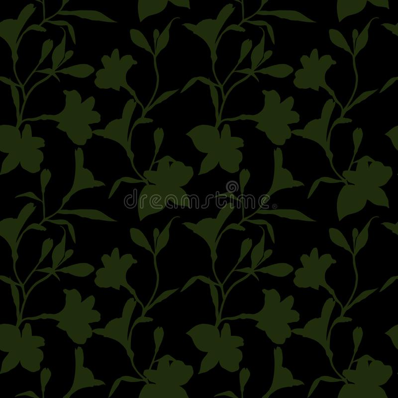 Seamless floral pattern. Pattern with green Silhouette graphics flowers on black background. Alstroemeria. Seamless vector illustration