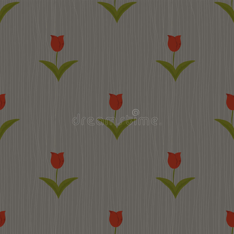 Seamless floral pattern. On grey background with tulips vector illustration