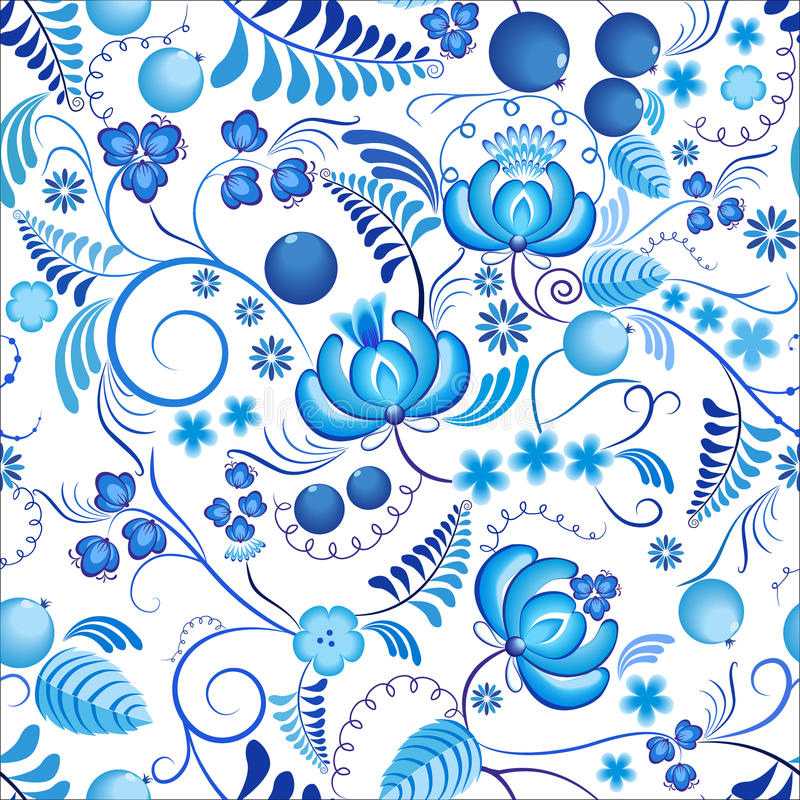 Seamless floral pattern Gzhel with blue ornamental flowers and white background. Russian ornament vector illustration