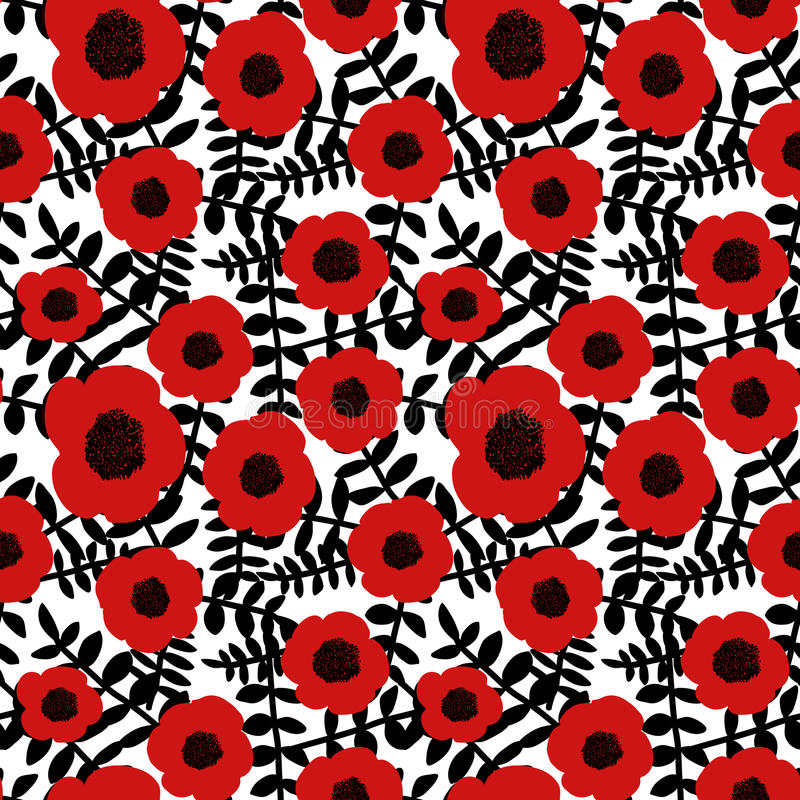 Seamless floral pattern hand drawn abstract red poppy flowers black twigs leaves white background, fabric, wallpaper vector illustration