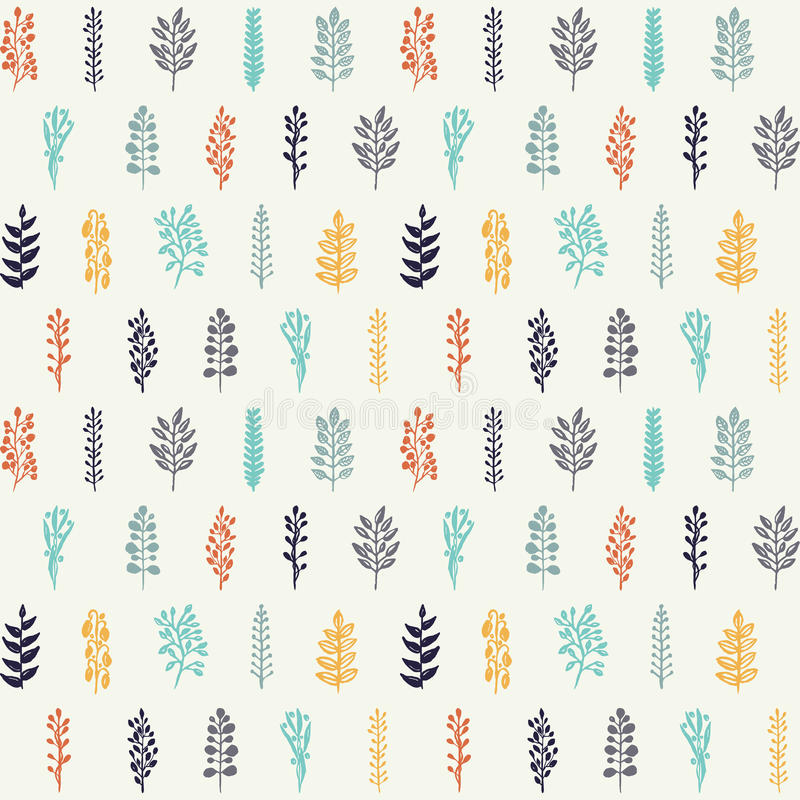 Seamless floral pattern. Seamless floral hand drawn pattern with branches, foliage and berries royalty free illustration