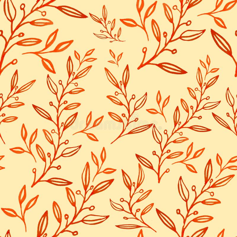 Seamless floral pattern hand drawn leaves. Textile printing background wallpaper decoration ad banner orange yellow summer can used spring royalty free illustration