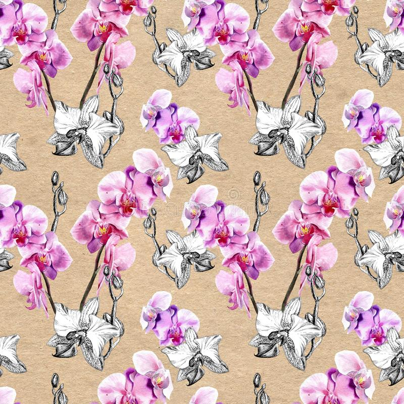 Seamless floral pattern with hand drawn orchids on paper textured background stock illustration