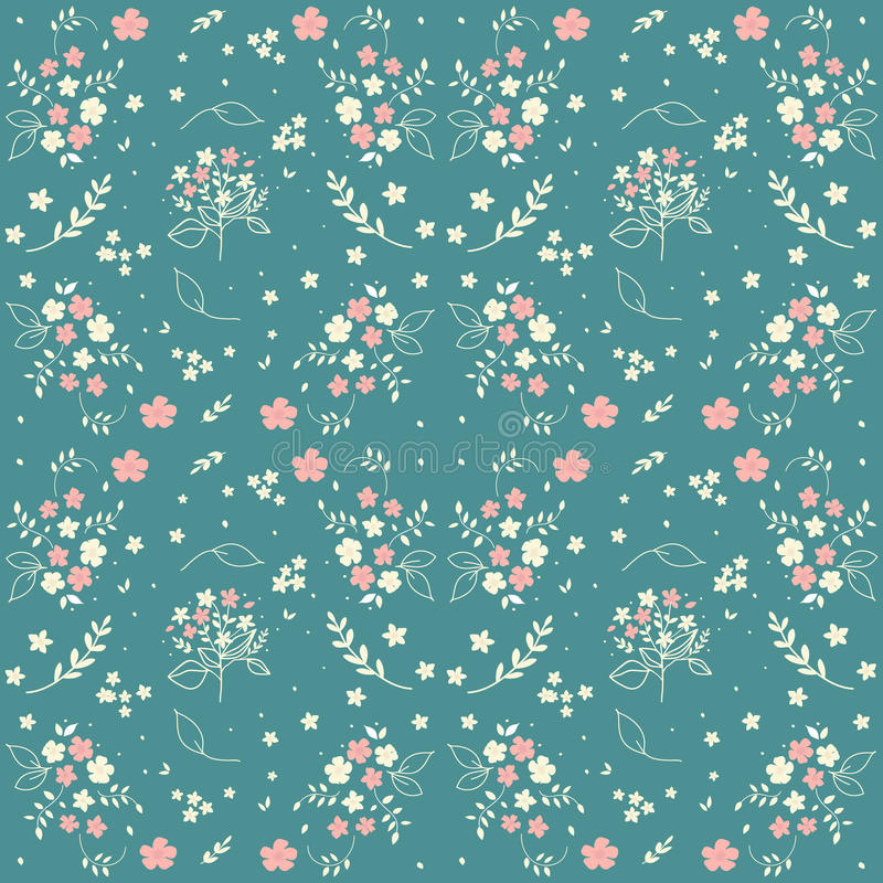 Seamless floral pattern hand drawn small white silhouette flowers in bouquet twigs berries on blueish green background, fabric, sc vector illustration