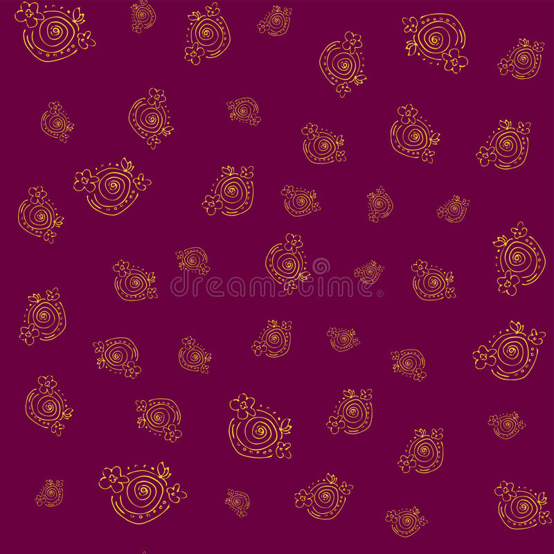 Seamless floral pattern with handdrawn elements/ gold on dark red background. stock illustration