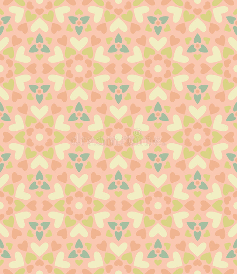 Seamless floral pattern of hearts. stock illustration