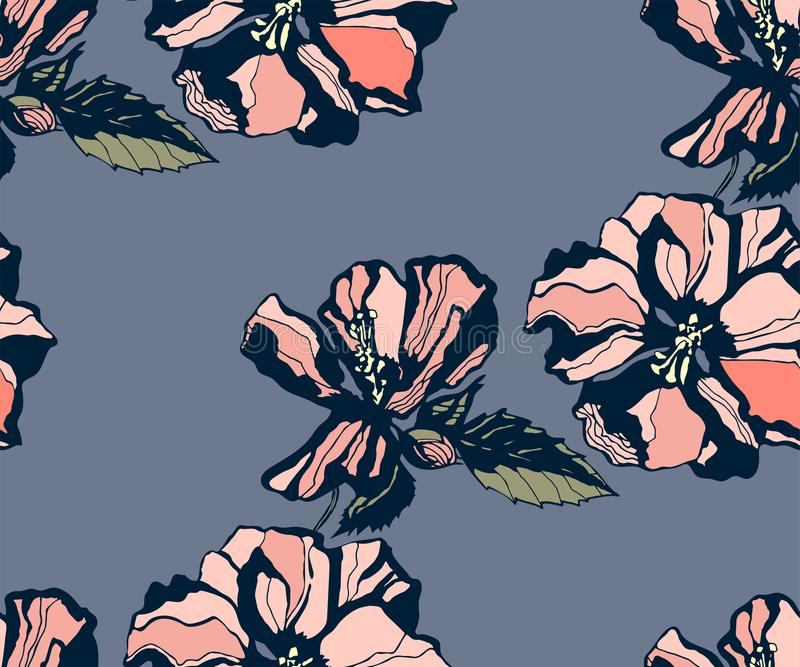 Seamless floral pattern with hibiscus and ornamental hand drawing decorative background. Ethnic seamless pattern ornament. Vector royalty free illustration