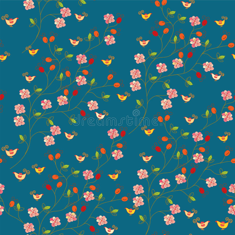 Download Seamless Floral Pattern With Hips Stock Vector - Image: 16836640