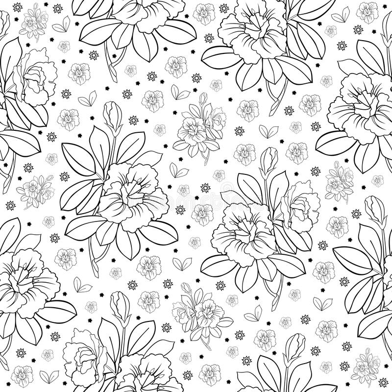 Black Flower And Bud Pattern Royalty Free Stock Photos: Seamless Floral Pattern Royalty Free Stock Photos