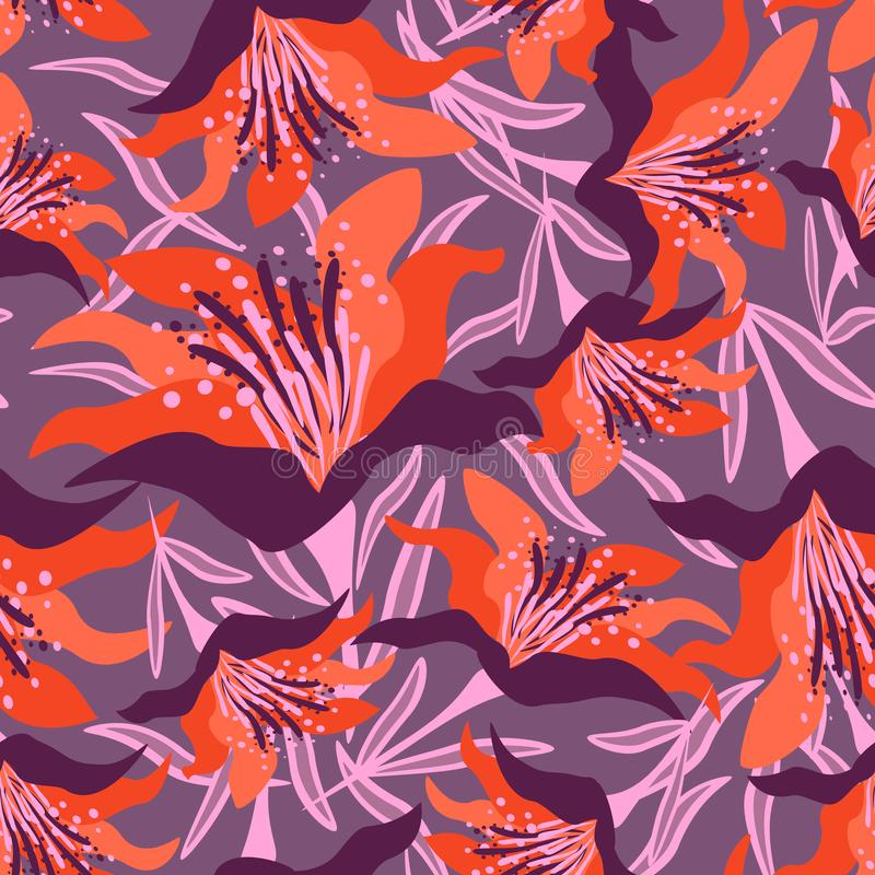 Seamless floral pattern on the violet background with leaves. royalty free stock photography
