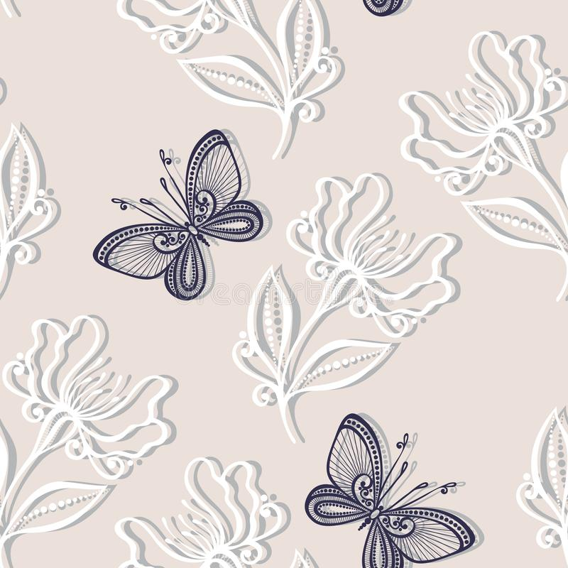 Download Seamless Floral Pattern With Insects (Vector) Stock Vector - Image: 36272941