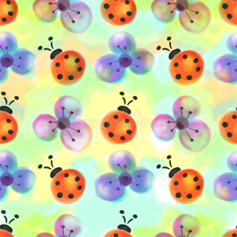 Seamless floral pattern with insects. Watercolor background with hand drawn flowers and ladybugs. vector illustration