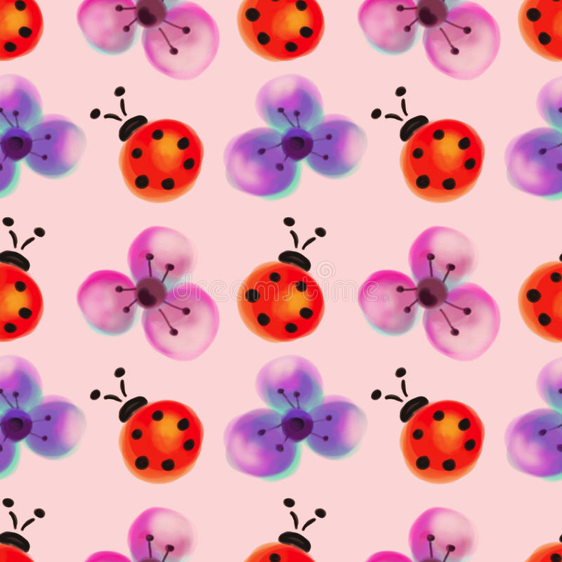 Seamless floral pattern with insects. Watercolor background with hand drawn flowers and ladybugs. stock image