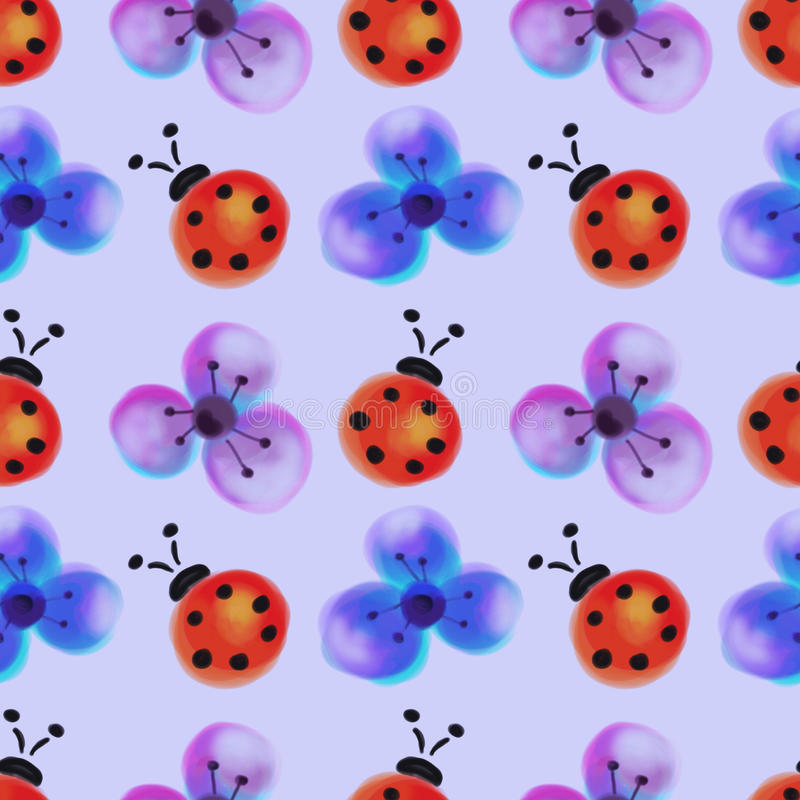 Seamless floral pattern with insects. Watercolor background with hand drawn flowers and ladybugs. Series of Watercolor Seamless Patterns, Backgrounds royalty free stock images