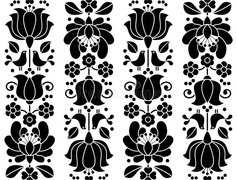 Seamless floral pattern - Kalocsai embroidery - traditional folk design from Hungary vector illustration