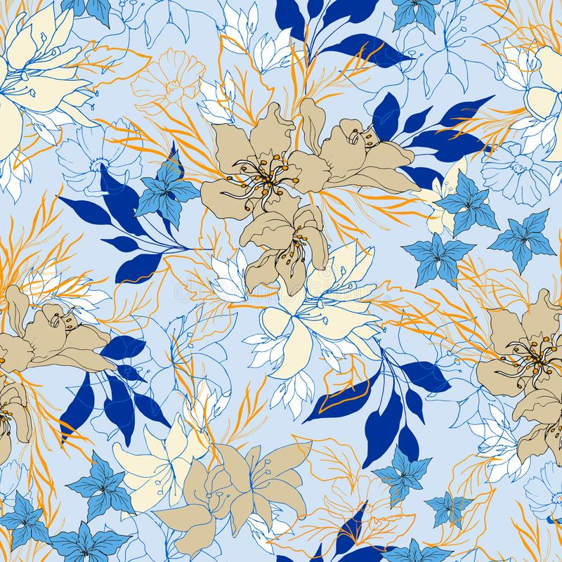 Seamless floral pattern. Large flowers on a blue background. Bright ornament for fabric. Vector endless texture.  stock illustration