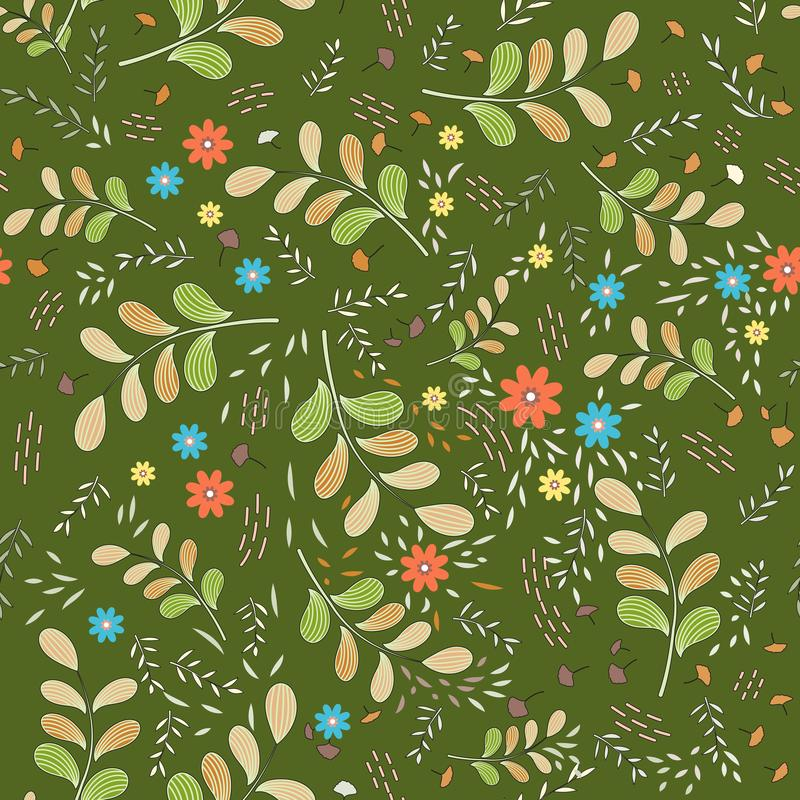 Seamless floral pattern of large olive-orange branches and small colored elements in the form of flowers, leaves, light twigs and vector illustration
