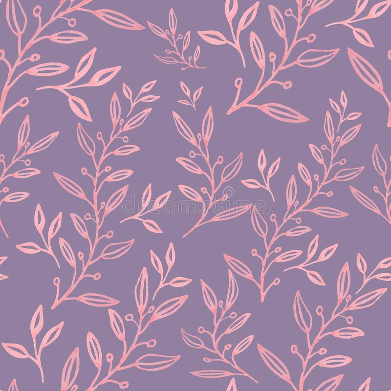 Seamless floral pattern with  leaves  royalty free illustration