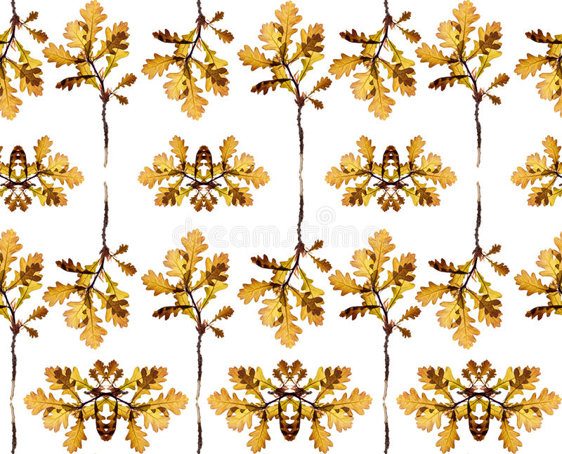 Seamless floral pattern with leaves of the tree stock photo