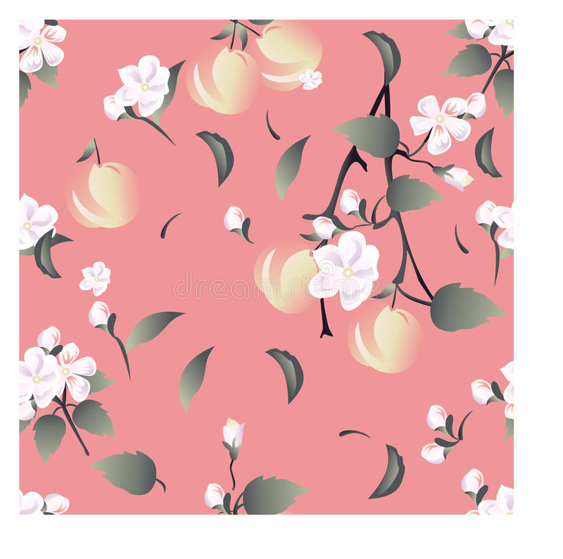 Seamless floral pattern on light pink background with flowers, branches of an apple-tree and apples in pastel tones. stock photo