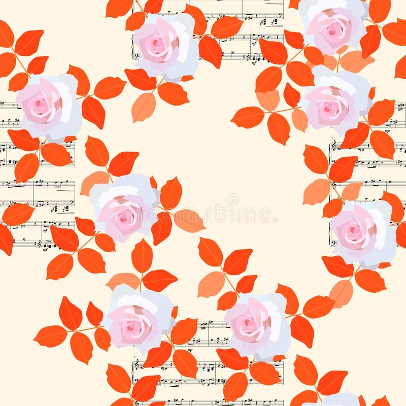 Seamless floral pattern with light pink roses, orange leaves and musical notes on beige background.  vector illustration