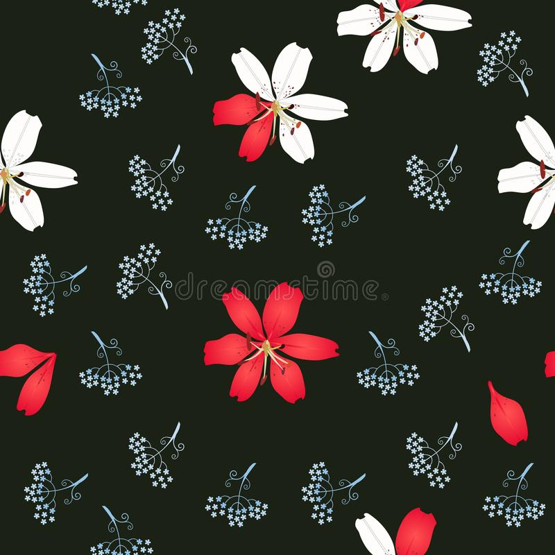 Seamless floral pattern with lilies and silhouettes of mini umbrella flowers isolated on black background in vector. vector illustration