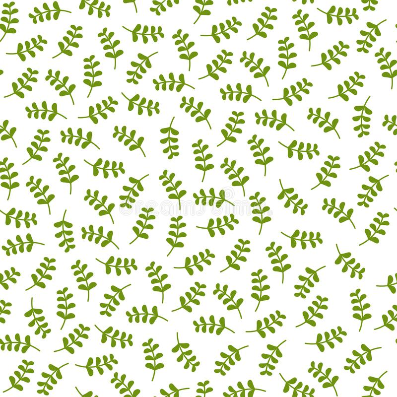 Seamless floral pattern with little bright green blades of grass. Floral texture on white background. stock illustration