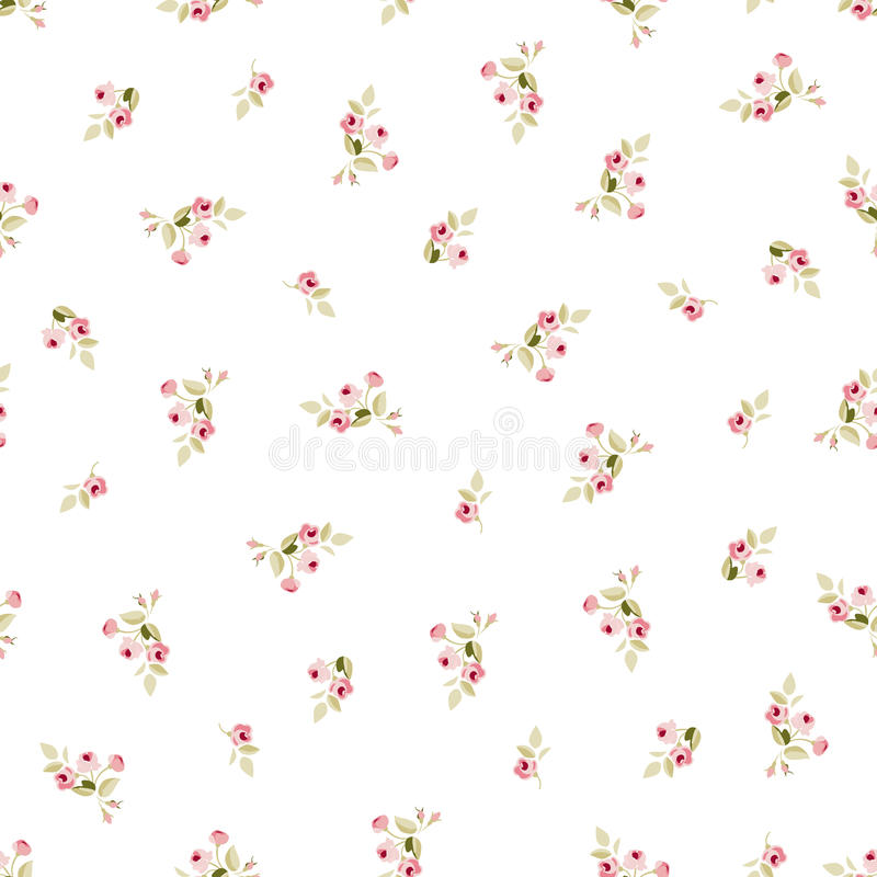 Seamless floral pattern with little red roses vector illustration