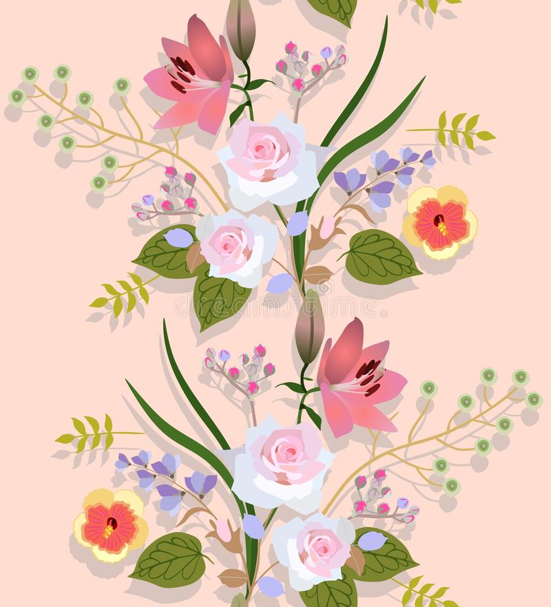 Seamless floral pattern with luxury bouquets of garden flowers and shadow on light peach color background in vector vector illustration