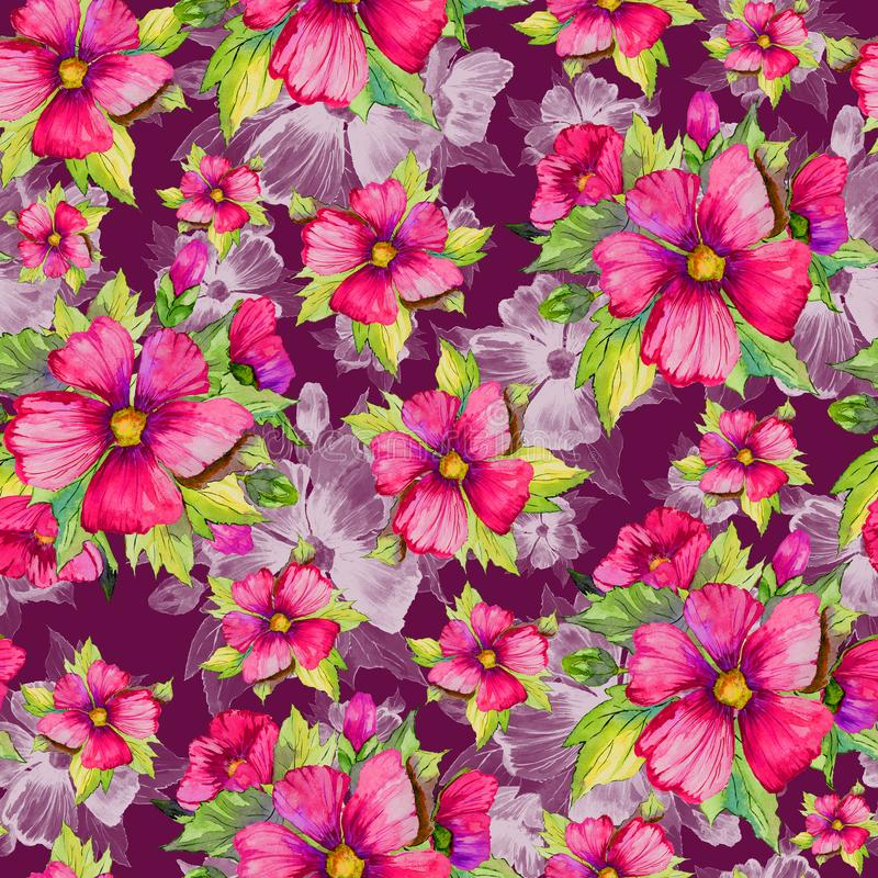 Seamless floral pattern made of red malva flowers on dark cherry background. Watercolor painting. Hand drawn and painted illustration. Can be used as for royalty free illustration