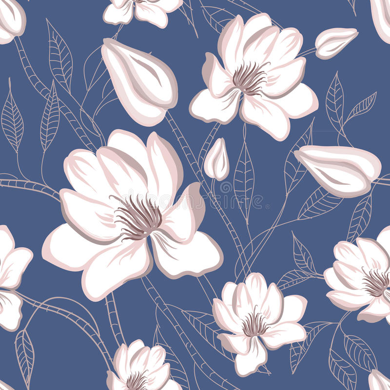 Seamless floral pattern with magnolia flowers stock illustration