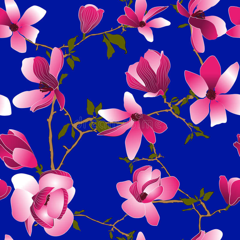 Seamless pattern with magnolia flowers royalty free stock photography