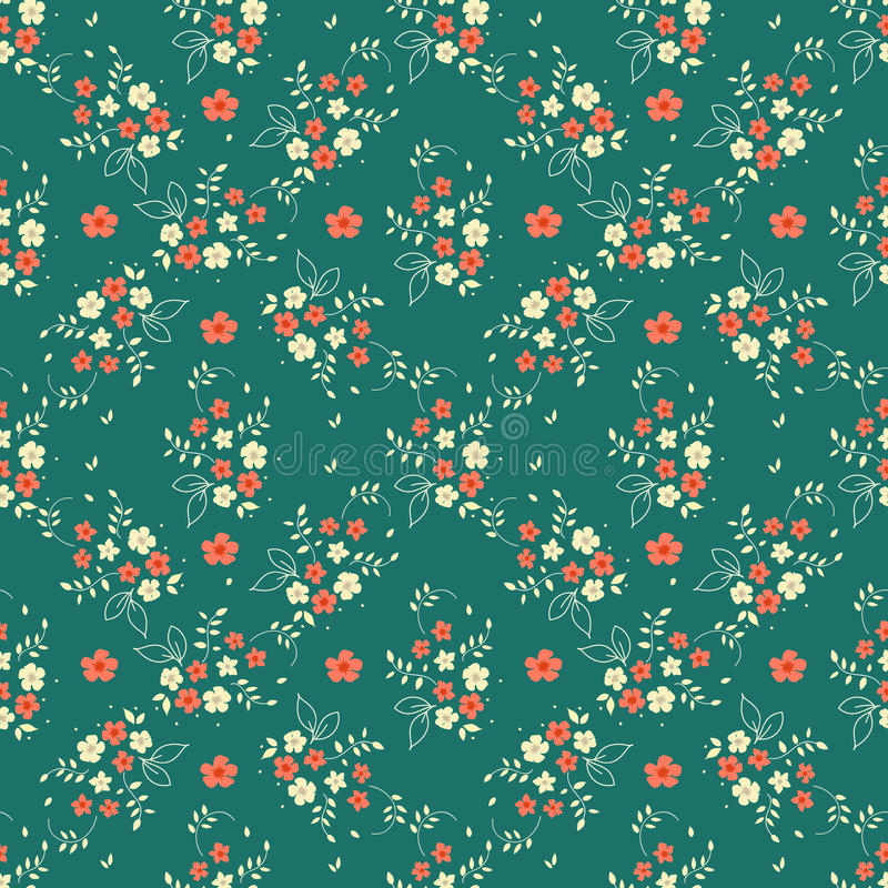 Seamless floral pattern millefleurs red white flower bouquet leaves sprigs arranged in diamond shape ornament on dark green backgr stock illustration