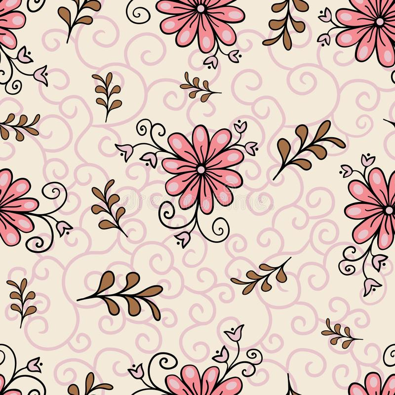 Seamless floral pattern. Modern abstract bright colorful style. Hand drawn, - stock. Background or wallpaper, pattern stock photos