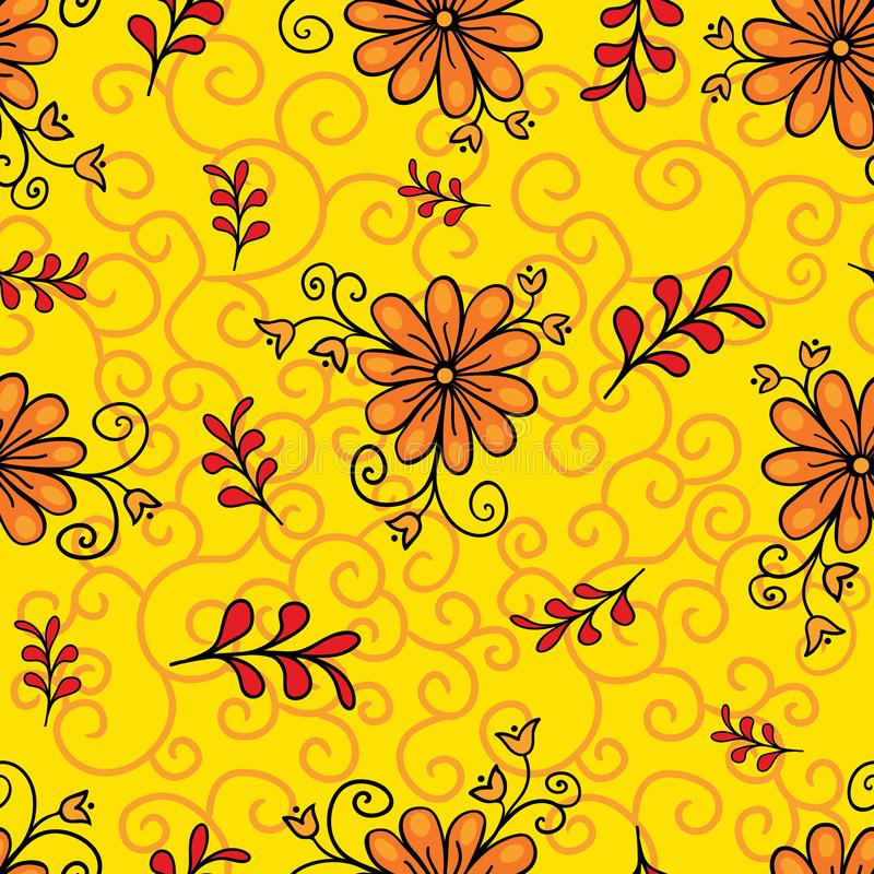 Seamless floral pattern. Modern abstract bright colorful style. Hand drawn, - stock. Background or wallpaper, pattern royalty free stock photography