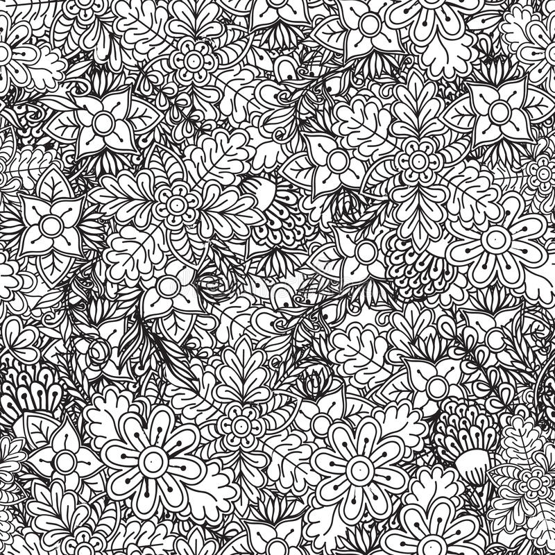 Seamless floral pattern. Ornate black and white background stock illustration