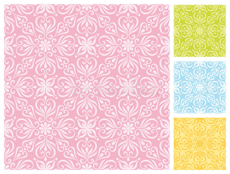 Seamless Floral Pattern In Pastel Color Schemes Royalty Free Stock Image