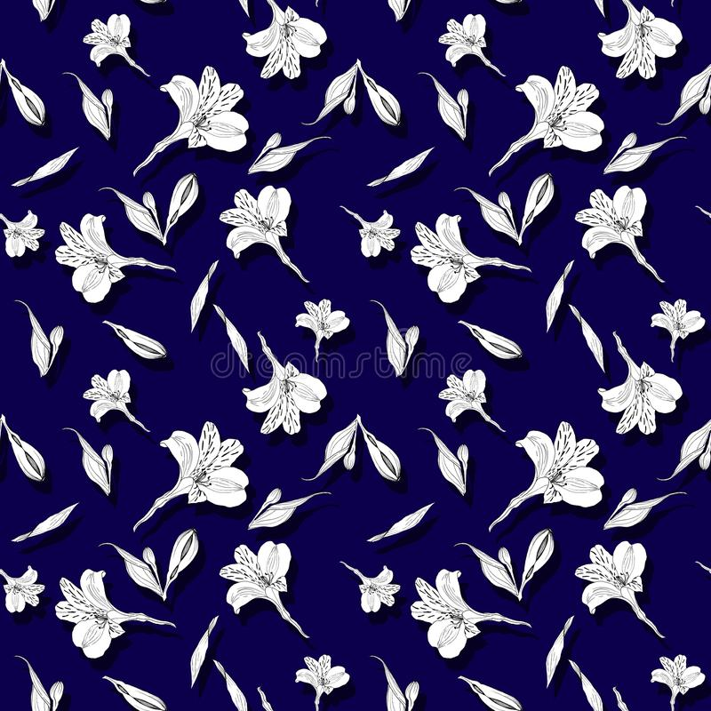 Seamless floral pattern. Pattern with ink graphics flowers on dark blue background. Alstroemeria. Seamless pattern with royalty free illustration