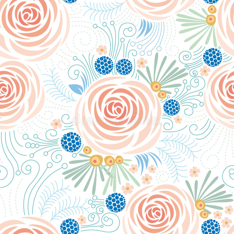 Seamless floral pattern, Peonies royalty free stock photo