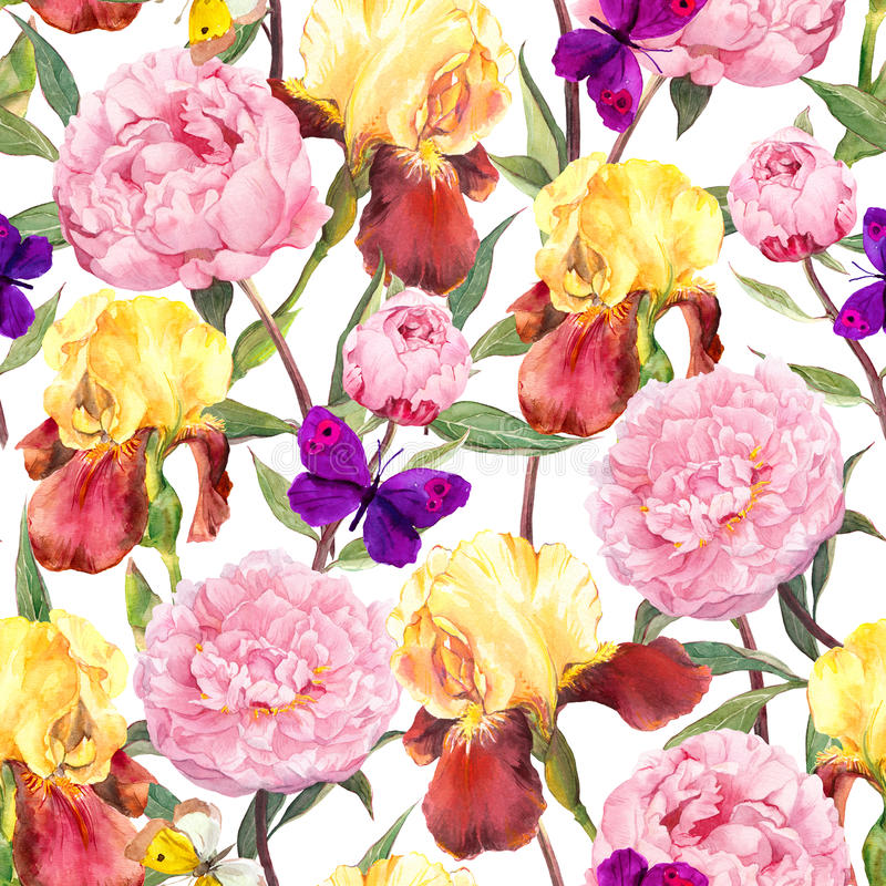 Seamless floral pattern. Peonies pink flowers, iris flower and butterflies. Watercolor. Seamless floral pattern. Peonies pink flowers and irises. Watercolor royalty free illustration
